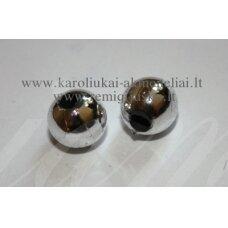KP0932 apie 8 mm, apvali forma, sidabro spalva, plastikinis karoliukas, apie 100 vnt.