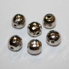 KP1283 apie 8 mm, apvali forma, briaunuotas, metalo spalva, plastikinis karoliukas, apie 70 vnt.