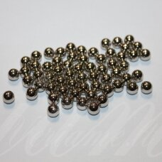kp2676 apie 6 mm, apvali forma, sidabrinė spalva, plastikinis karoliukas, be skylės, apie 150 vnt.