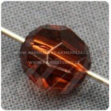 KP1342 apie 8 mm, apvali forma, briaunuotas, skaidrus, ruda spalva, plastikinis karoliukas, 85 vnt.