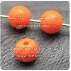 KP1541 apie 8 mm, apvali forma, oranžinė spalva, plastikinis karoliukas, 72 vnt.