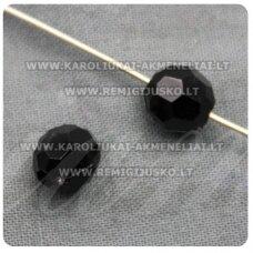 KP1569 apie 8 mm, apvali forma, briaunuotas, juoda spalva, plastikinis karoliukas, 80 vnt.