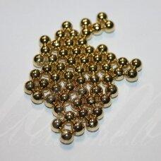 kp2674 apie 6 mm, apvali forma, šviesi, auksinė spalva, plastikinis karoliukas, be skylės, apie 150 vnt.