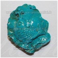 KPP0001 apie 39 x 32 x 15 mm, turkio spalva, plastikinis karoliukas, 1 vnt.