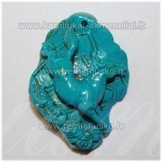 KPP0003 apie 43 x 31 x 14 mm, turkio spalva, plastikinis karoliukas, 1 vnt.