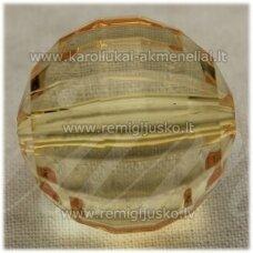 KPV0013 apie 26 mm, apvali forma, briaunuotas, skaidrus, geltona spalva, plastikinis karoliukas, 1 vnt.