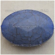 kpv0017 about 38 x 27 mm, oval shape, faceted, light blue color, plastic beads, 1 pc.