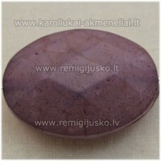 kpv0018 about 38 x 27 mm, oval shape, faceted, purple color, plastic beads, 1 pc.