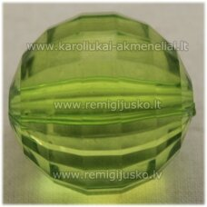 kpv0030.5 about 26 mm, round shape, faceted, transparent, green color, plastic beads, 1 pc.