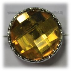 kpv0042 about 23 x 14 mm, disk shape, faceted, yellow color, 1 pc.