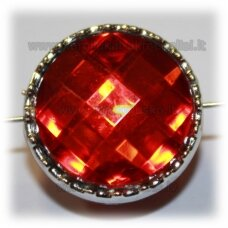 kpv0044 about 23 x 14 mm, disk shape, faceted, red color, 1 pc.