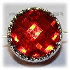 kpv0044 apie 23 x 14 mm, disko forma, briaunuotas, raudona spalva, 1 vnt.