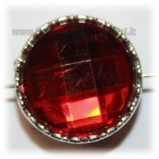 kpv0045 about 23 x 14 mm, disk shape, faceted, dark, red color, 1 pc.