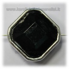 kpv0049 about 25 x 13 mm, rhombus shape, faceted, black color, 1 pc.