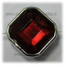 kpv0050 about 25 x 13 mm, rhombus shape, faceted, dark, red color, 1 pc.