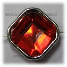 kpv0051 about 25 x 13 mm, rhombus shape, faceted, red color, 1 pc.