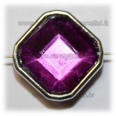 kpv0052 about 25 x 13 mm, rhombus shape, faceted, purple color, 1 pc.