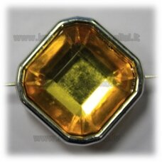 kpv0053 about 25 x 13 mm, rhombus shape, faceted, yellow color, 1 pc.