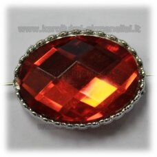 kpv0054 about 27 x 21 x 13 mm, oval shape, faceted, red color, 1 pc.