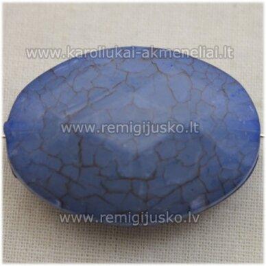 kpv0017 apie 38 x 27 mm, ovalo forma, briaunuotas, melsva spalva, plastikinis karoliukas, 1 vnt.