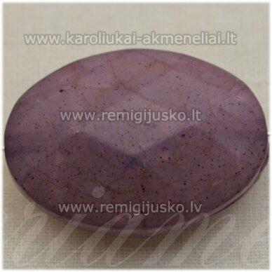 kpv0018 apie 38 x 27 mm, ovalo forma, briaunuotas, violetinė spalva, plastikinis karoliukas, 1 vnt.