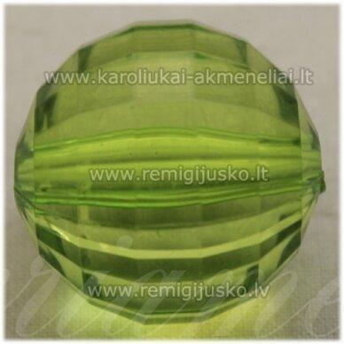 kpv0030.5 apie 26 mm, apvali forma, briaunuotas, skaidrus, žalia spalva, plastikinis karoliukas, 1 vnt.