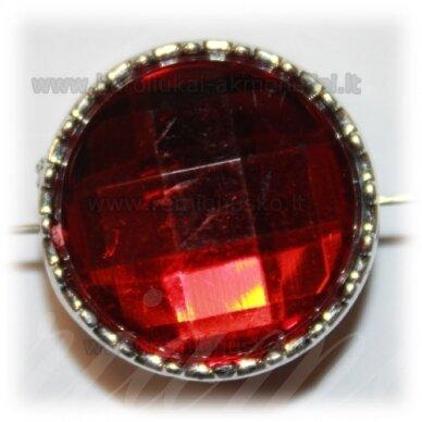 kpv0045 apie 23 x 14 mm, disko forma, briaunuotas, tamsi, raudona spalva, 1 vnt.