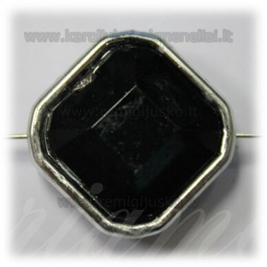 KPV0049 apie 25 x 13 mm, rombo forma, briaunuotas, juoda spalva, 1 vnt.