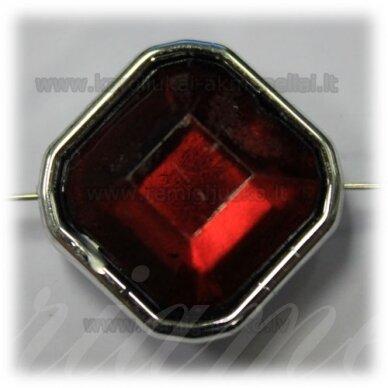 kpv0050 apie 25 x 13 mm, rombo forma, briaunuotas, tamsi, raudona spalva, 1 vnt.
