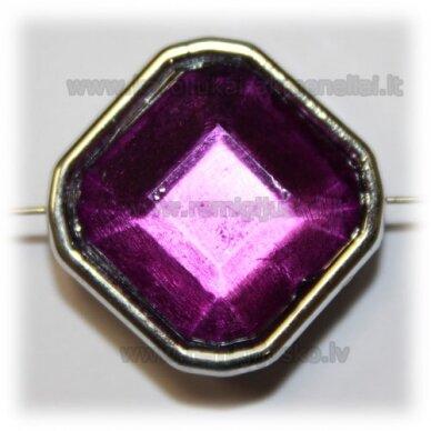 kpv0052 apie 25 x 13 mm, rombo forma, briaunuotas, violetinė spalva, 1 vnt.