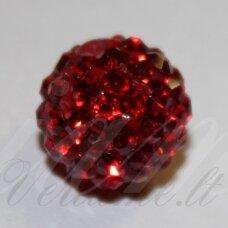 ksam0003-10 apie 10 mm, apvali forma, raudona spalva, šambalos karoliukas, 5 vnt.