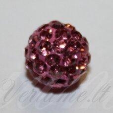 ksam0004-10 apie 10 mm, apvali forma, rožinė spalva, šambalos karoliukas, 5 vnt.