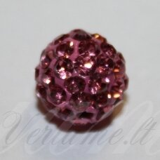 ksam0004-08 about 8 mm, round shape, pink color, shambala bead, 6 pc.