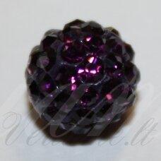 KSAM0006-08 apie 8 mm, apvali forma, violetinė spalva, šambalos karoliukas, 1 vnt.