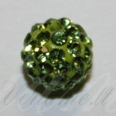ksam0009-14 apie 14 mm, apvali forma, žalia spalva, šambalos karoliukas, 3 vnt.