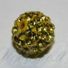 ksam0011-10 apie 10 mm, apvali forma, geltona spalva, šambalos karoliukas, 5 vnt.