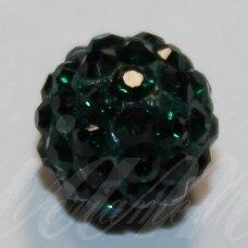 ksam0020-10 apie 10 mm, apvali forma, žalia spalva, šambalos karoliukas, 5 vnt.