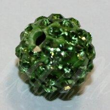 KSAM0025-10 apie 10 mm, apvali forma, žalia spalva, šambalos karoliukas, 1 vnt.