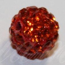KSAM0026-10 apie 10 mm, apvali forma, oranžinė spalva, šambalos karoliukas, 1 vnt.
