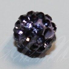KSAM0034-08 apie 8 mm, apvali forma, violetinė spalva, šambalos karoliukas, 1 vnt.