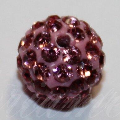 KSAM0021-08 apie 8 mm, apvali forma, rožinė spalva, šambalos karoliukas, 1 vnt.