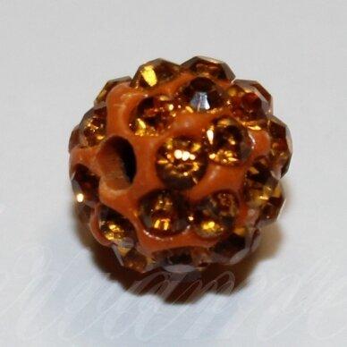ksam0036-08 apie 8 mm, apvali forma, oranžinė spalva, šambalos karoliukas, 1 vnt.