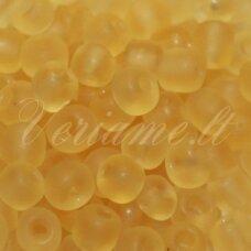 LB0002DMM-12 apie 2 mm, apvali forma, skaidrus, matinis, geltona spalva, 25 g.