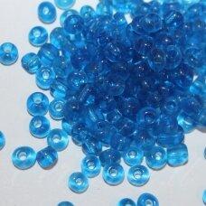 lb0003dm-12 apie 2 mm, apvali forma, skaidrus, mėlyna spalva, 25 g.