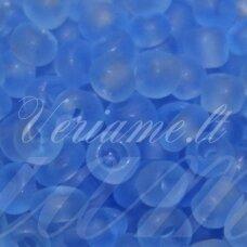 LB0006M-06 apie 4 mm, apvali forma, skaidrus, matinė, mėlyna spalva, apie 500 g.
