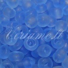 lb0006 m-12 apie 2 mm, apvali forma, skaidrus, matinė, mėlyna spalva, 25 g.