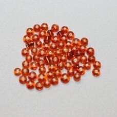LB0029B-12 apie 2 mm, apvali forma, skaidrus, oranžinė spalva, blizgus, viduriukas su folija 25 g.