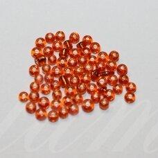 LB0029B-08 apie 3 mm, apvali forma, skaidrus, oranžinė spalva, blizgi danga, viduriukas su folija, apie 25 g.