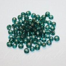 lb0051a-06 apie 4 mm, apvali forma, mėlyna spalva, žalsva spalva, skaidri, viduriukas su folija, 25 g.