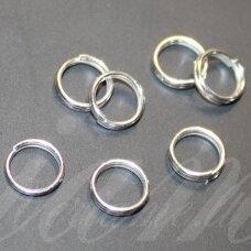 md0006 apie 10 mm, sidabrinė spalva, dvigubas žiedelis, apie 30 vnt.
